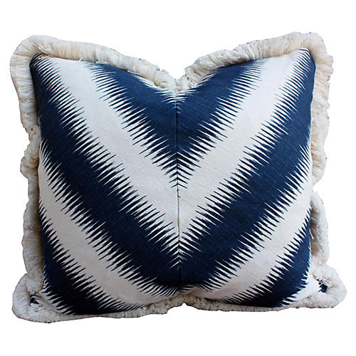 Fringed 20x20 Cotton Pillow, Navy