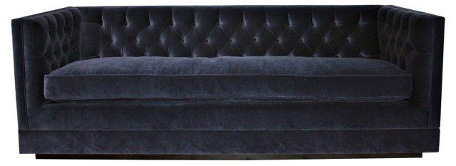 """Draper 88"""" Velvet Tuxedo Sofa, Navy"""