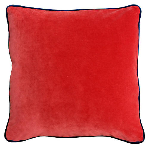 Marlon 20x20 Velvet Pillow, Burnt Orange