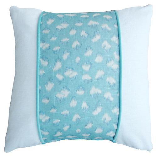 Maxine 20x20 Linen-Blend Pillow, Aqua