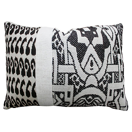 Ikat 14x20 Cotton-Blended Pillow, Black