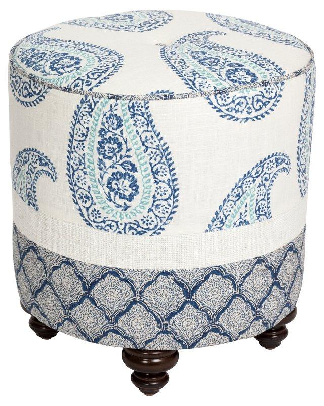 Dot Paisley Ottoman, Blue