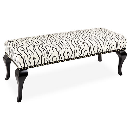 "Caroline 48"" Bench, Black/White Zebra"