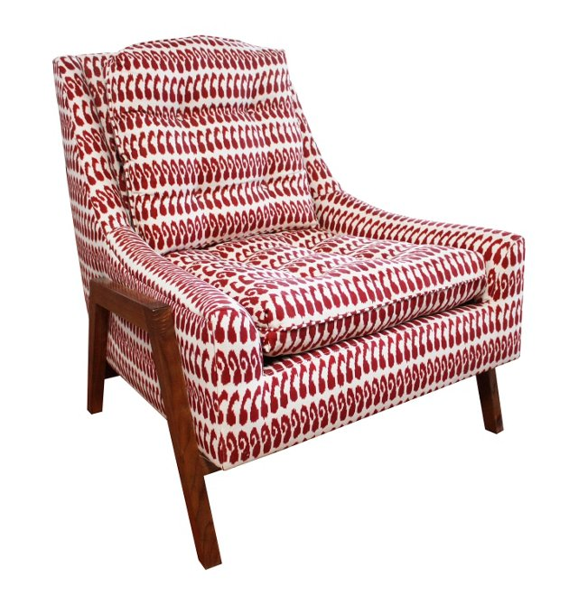 Grace Linen Lounge Chair, Red
