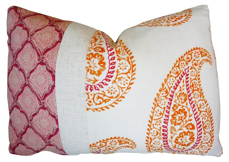 Paisley 16x24 Cotton Pillow, Multi