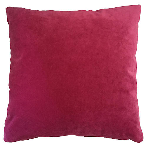 Marlon 20x20 Velvet Pillow, Berry Pink