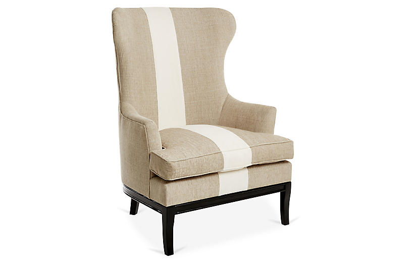 Calhoun Wingback Chair, Tan/Ivory Stripe
