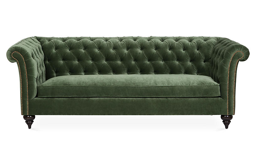 Hawkins Chesterfield Sofa, Forest Velvet