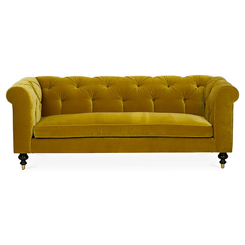 Dexter Tufted Sofa, Citrine Velvet
