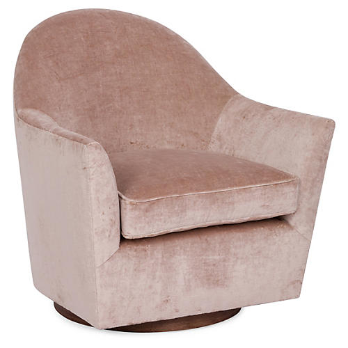 Ainsley Swivel Club Chair, Blush Velvet