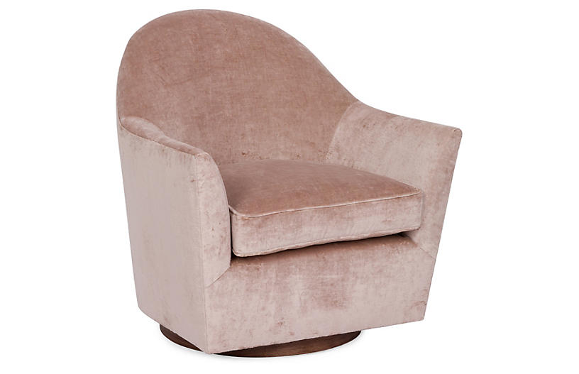 Ainsley Swivel Club Chair, Blush Velvet