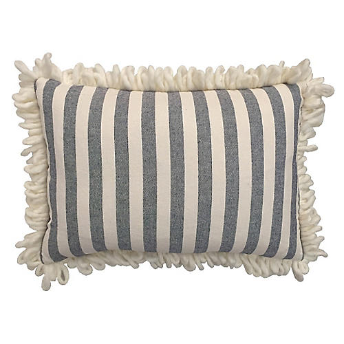 Watson 14x20 Loop Fringe Pillow, Blue