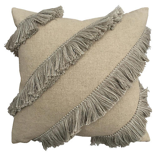 Fringe 20x20 Linen Pillow, Natural