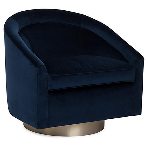 Benson Swivel Club Chair, Indigo Velvet