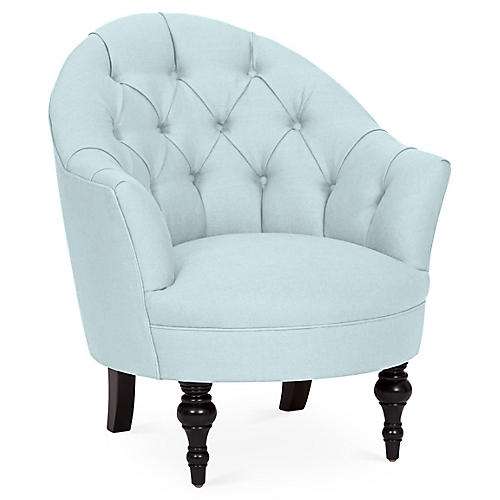 Elizabeth Accent Chair, Sky Blue Linen