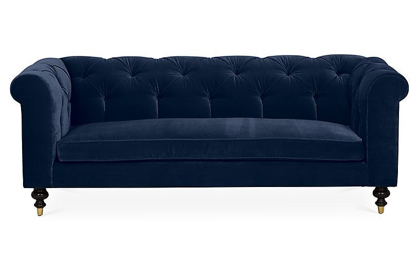 Dexter Tufted Sofa, Indigo Velvet