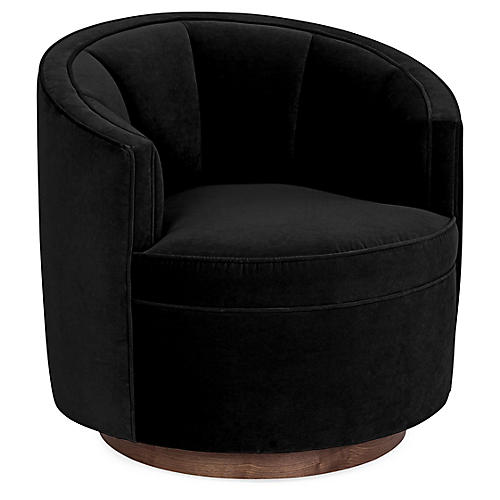 Jackie Swivel Club Chair, Black Velvet
