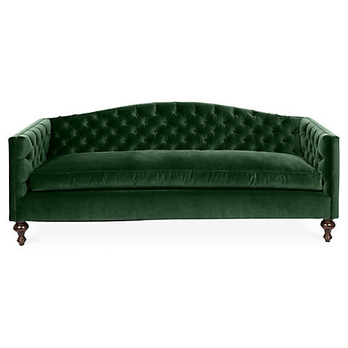 Victoria Tufted Sofa, Emerald Velvet