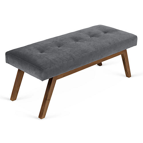 Bleeker Bench, Charcoal Velvet