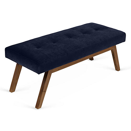 Bleeker Bench, Navy Velvet