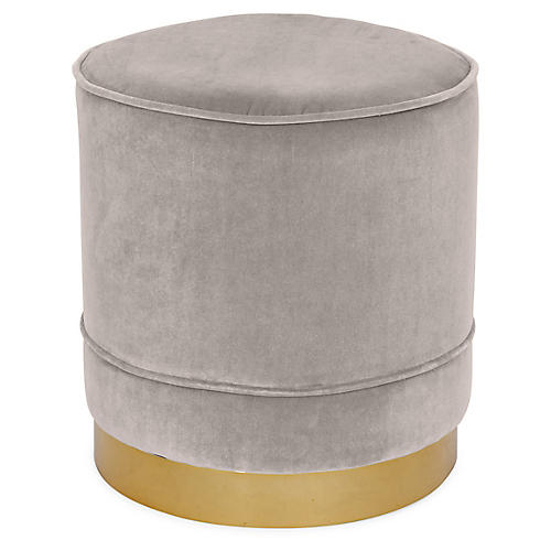 Piper Stool, Light Gray Velvet