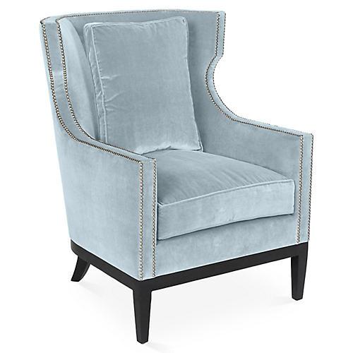 Roswell Wingback Chair, Sky Blue Velvet