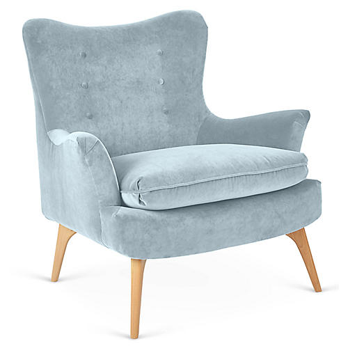 Sonja Accent Chair, Sky Blue Velvet