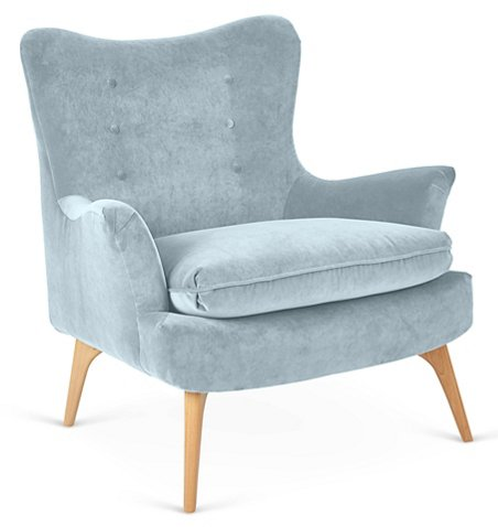 Sonja Accent Chair Sky Blue Velvet Accent Chairs Chairs