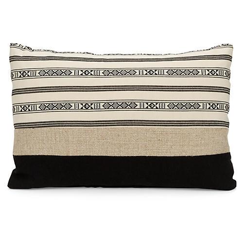 Stripe 20x14 Lumbar Pillow, Black/Cream