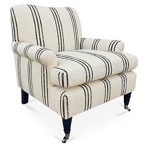 Paige Club Chair, Black/Cream