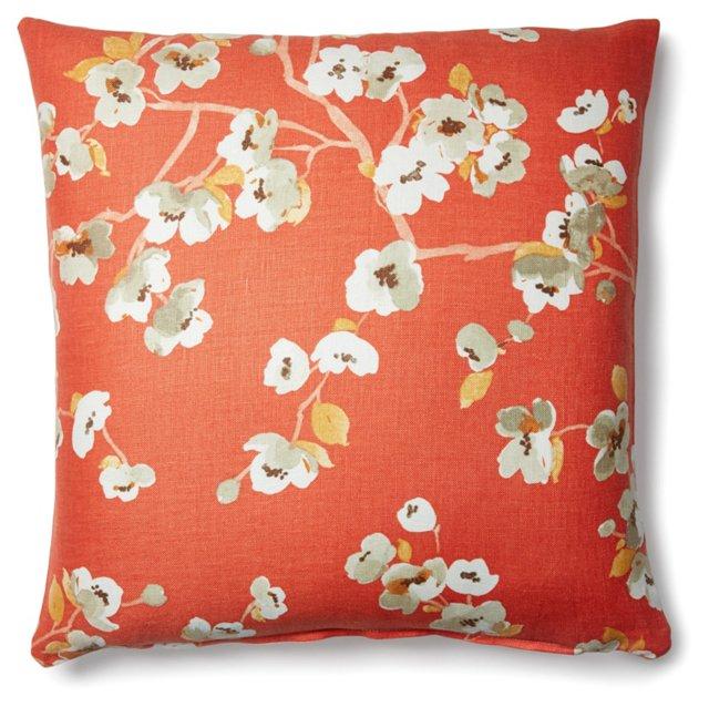 Lorca 20x20 Linen-Blended Pillow, Orange
