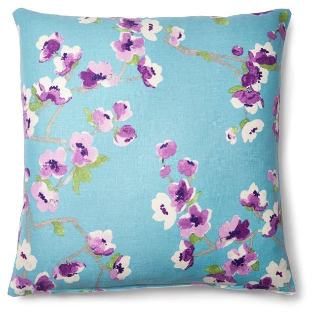 Lorca 20x20 Linen-Blended  Pillow, Blue