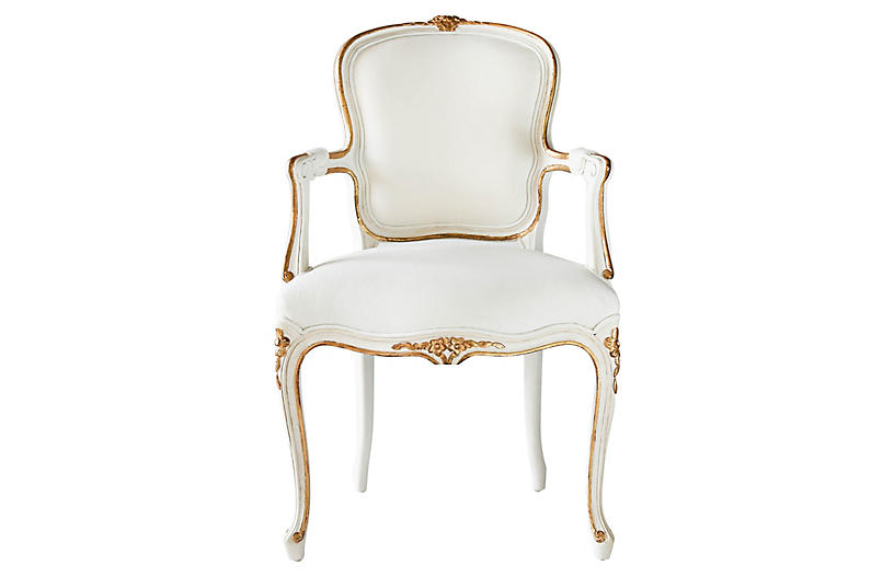 Regent Armchair, Antiqued White