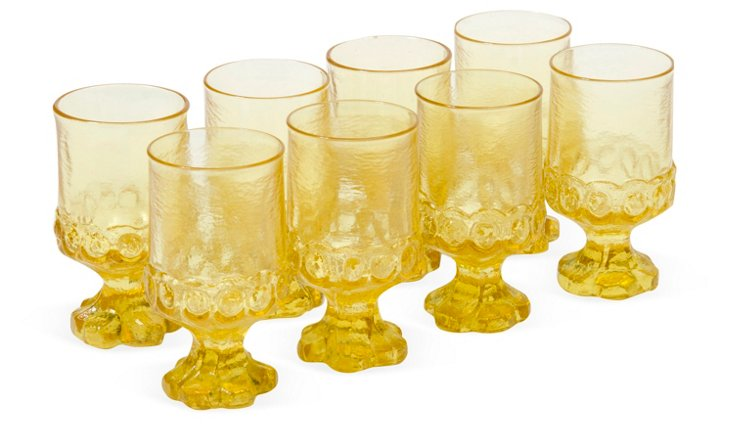 1960s Yellow Wine Glasses, Set of 8