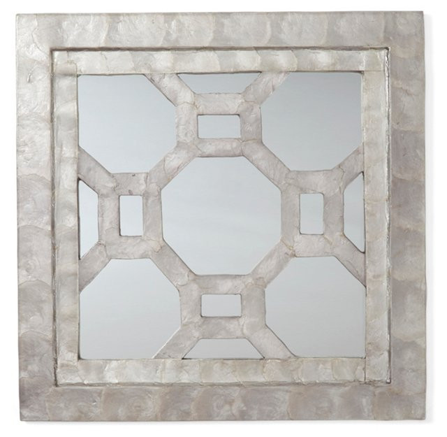 Capiz Octagon Mirror, Dark Gray