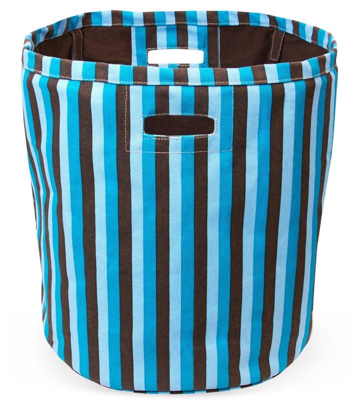 Tall Canvas Stripe Bin, Blue