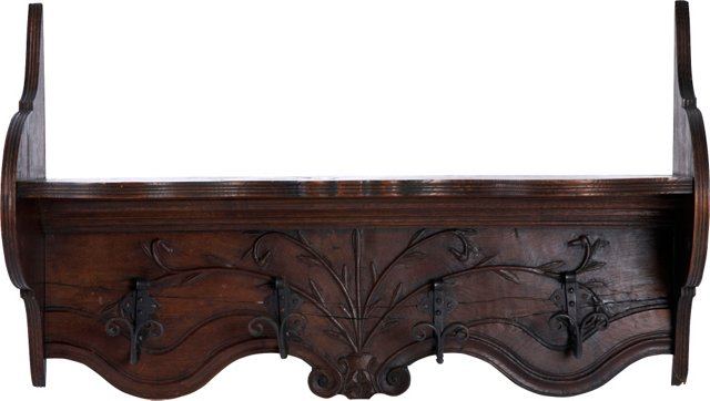 19th-C. Carved Wood Coat Rack