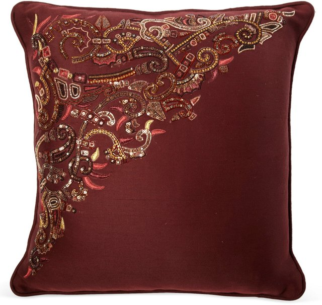 Burgundy Beaded Pillow
