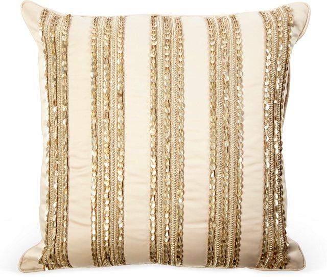 Beaded Pillow, Light Beige