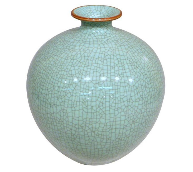 "13"" Crackle Pomegranate Vase, Celadon"