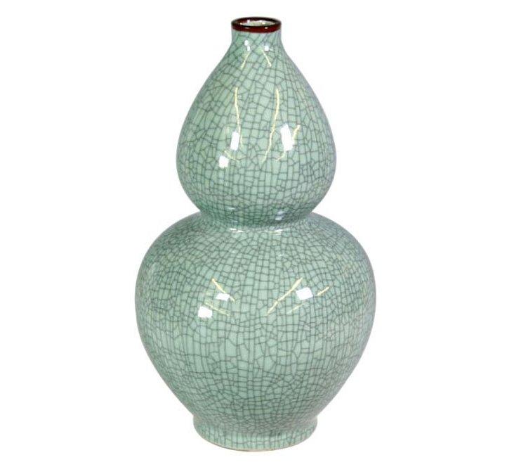 """21"""" Crackle Gourd Vase, Celadon"""