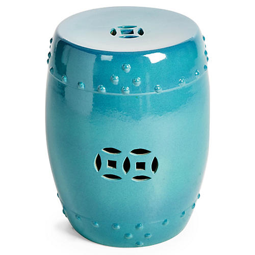 Kelly Garden Stool, Steel Blue