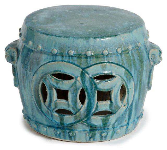 Barrel Garden Stool, Turquoise