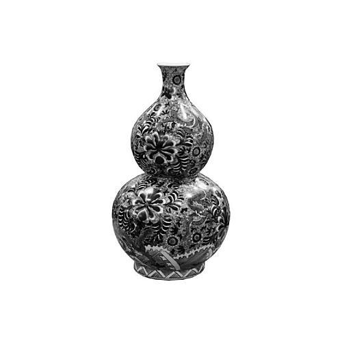 "24"" Dragon Gourd Vase, Black/White"