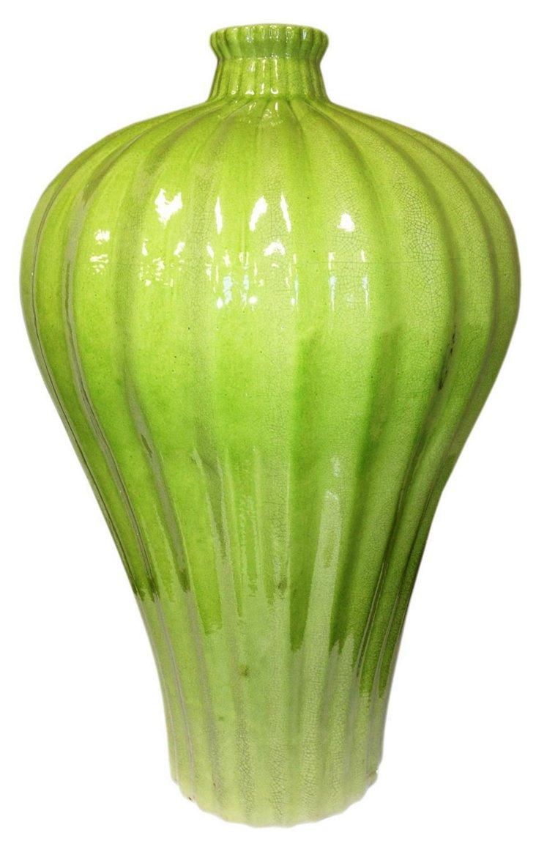 Fluted Plum Vase, Lime Green