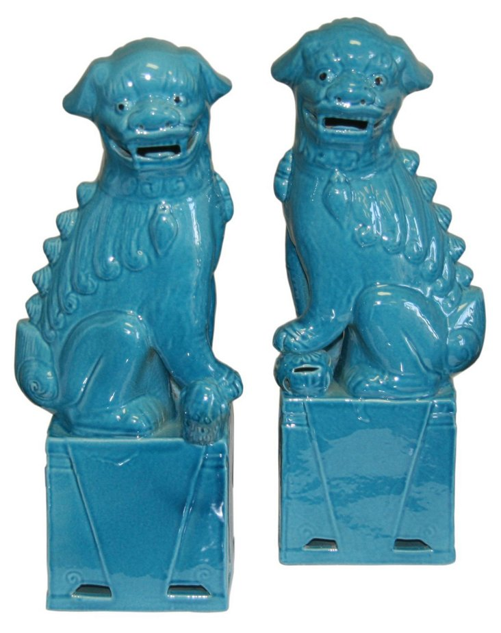 "15"" Blue Sitting Foo Dogs, Asst. of 2"