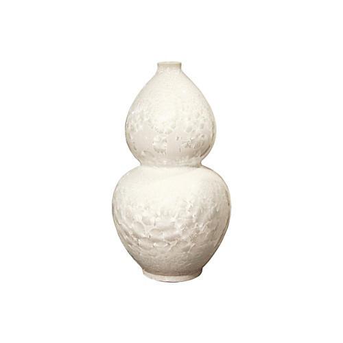 """21"""" Crystal Shell Gourd Vase, White"""