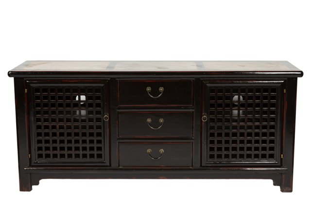 Imari Lattice Media Cabinet, Black/Ivory
