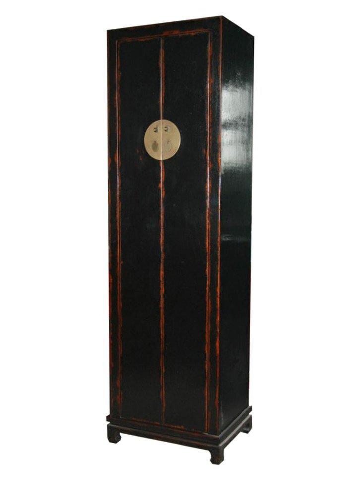 Peking Narrow Cabinet, Distressed Black