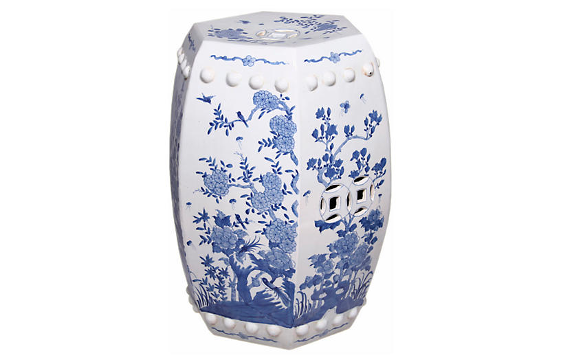 Floral Garden Stool, Blue/White